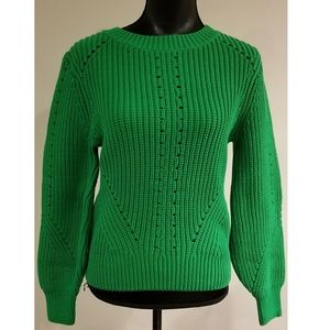 H&M GREEN CABLE KNIT SWEATER